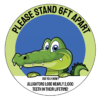 To show customers an example of a custom social distancing floor sticker with an alligator