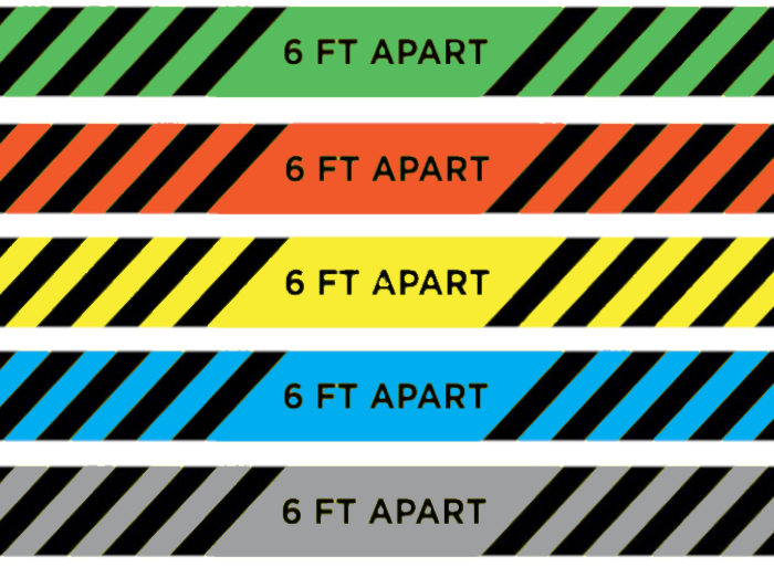 To Show all the different colors we offer in the Social Distancing Floor Tape with Text